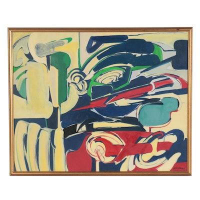 """Pierre Gastaud Abstract Oil Painting """"Marie N°4,"""" 1969"""
