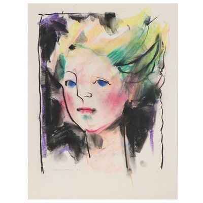 Jack Meanwell Abstract Pastel Portrait Drawing, 1982