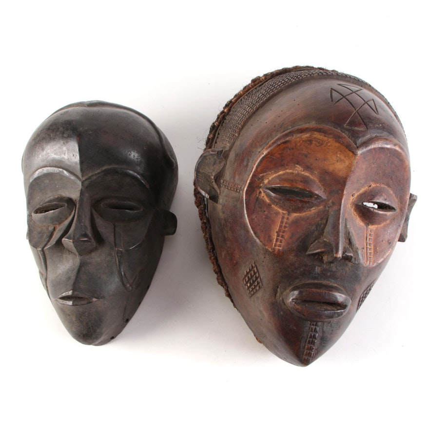 Chowe Inspired Carved Wood Masks, Central Africa