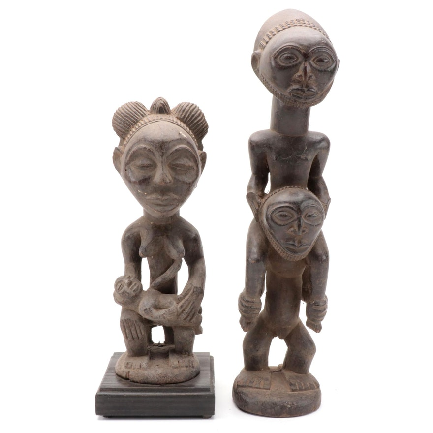 Hemba Style Stacked Wood Figure and Central African Maternity Figure
