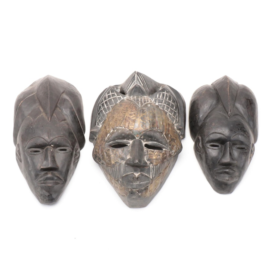 Tikar Inspired Hand-Carved Wood and Metal Plated Masks, Cameroon