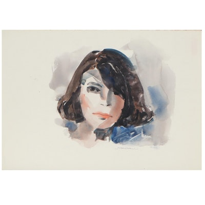 Jack Meanwell Portrait Watercolor of Woman, Late 20th Century