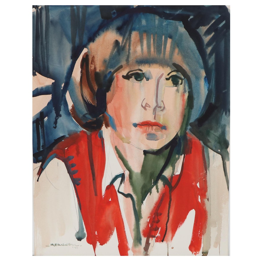 Jack Meanwell Portrait Watercolor of Woman in Red, 1977