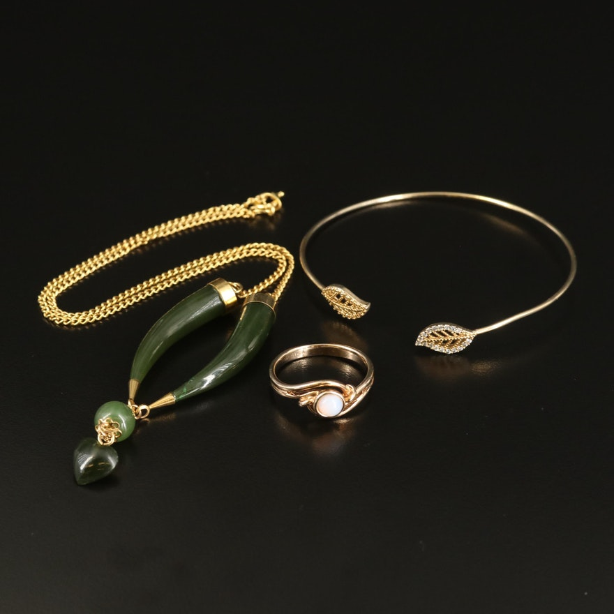 Nephrite Heart Drop Necklace, Leaf Cuff and Bypass Ring