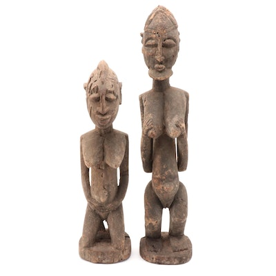 Dogon Style Handcrafted Wood Kneeling Figures, West Africa