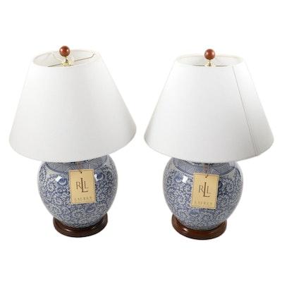 Ralph Lauren Blue and White Ginger Jar Ceramic Table Lamps