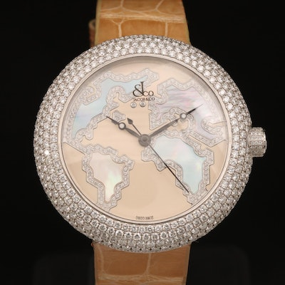 Jacob & Co. 9.00 CTW Diamond and Mother of Pearl World Map Wristwatch