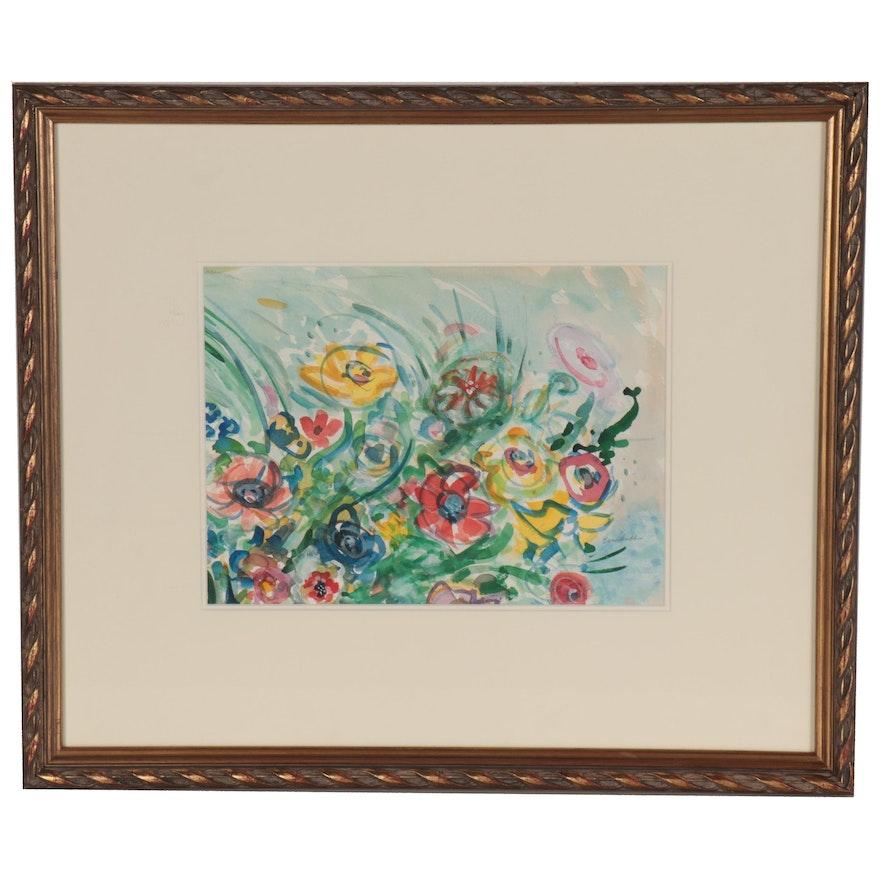 "Beverly Erschell Watercolor Painting ""The Garden"""