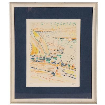 """André Derain Lithograph """"Bâteaux à Collioure,"""" Circa 1920"""
