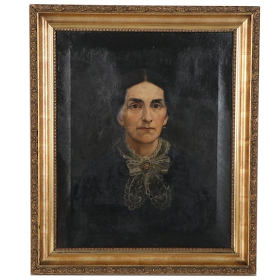 Portrait Oil Painting of Woman with Jabot, Late 19th Century