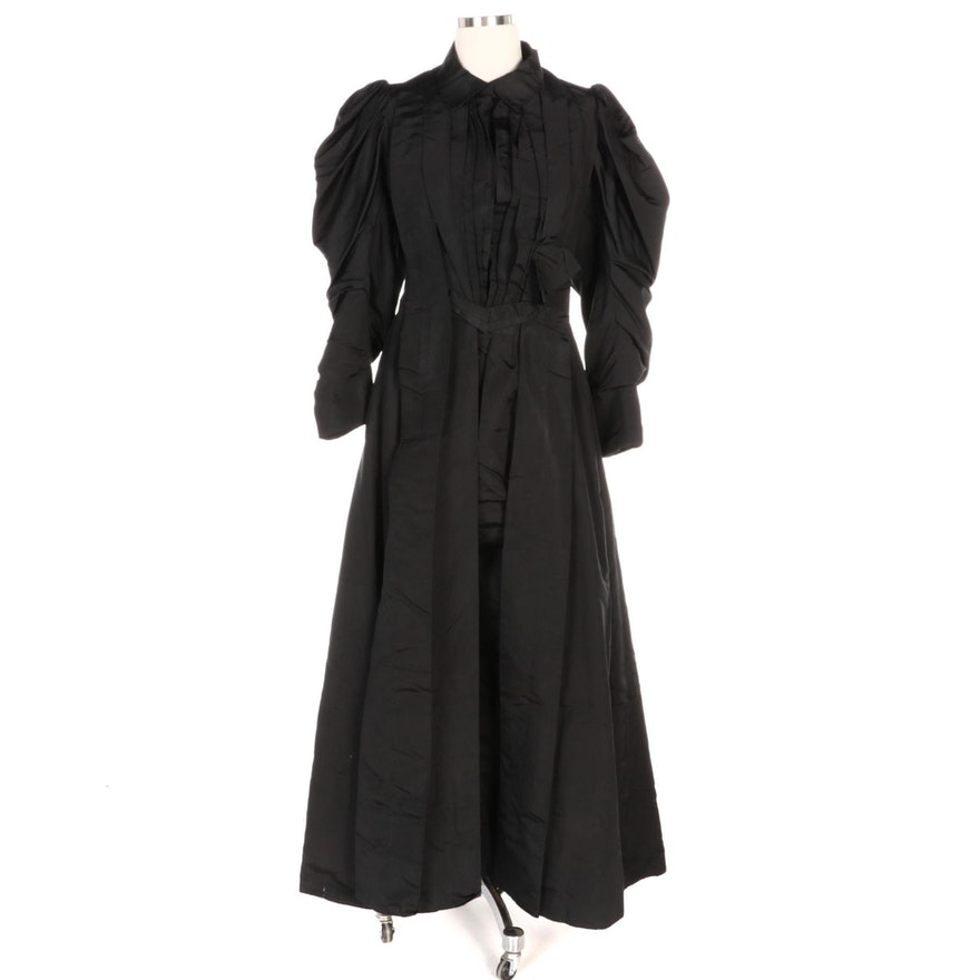 Victorian Black Mourning Wrapper Dress and Cotton Petticoat