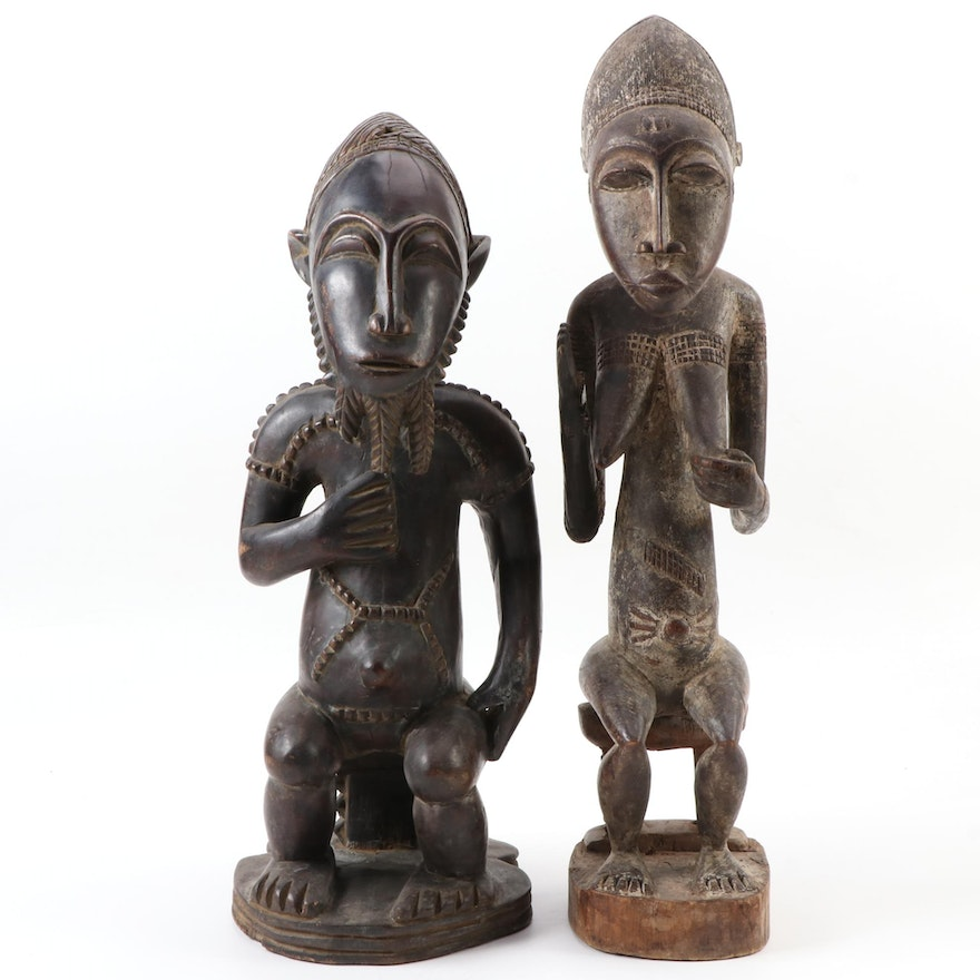 Baule-Yaure Style Handcrafted Wooden Figures, West Africa