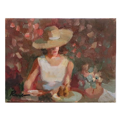 Sally Rosenbaum Oil Painting of Woman in Hat, 21st Century