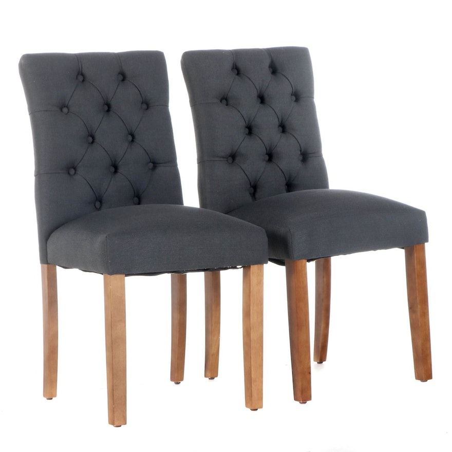 Pair of Skyline Imports Buttoned-Down Dining Side Chairs