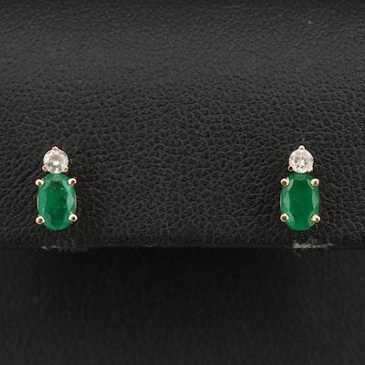 14K Emerald and Diamond Stud Earrings