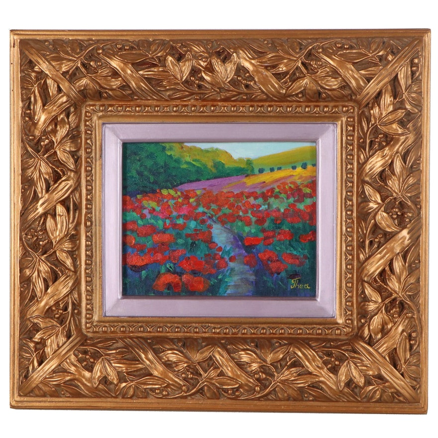 "Thea Mamukelashvili Acrylic Painting ""Poppy Field"""