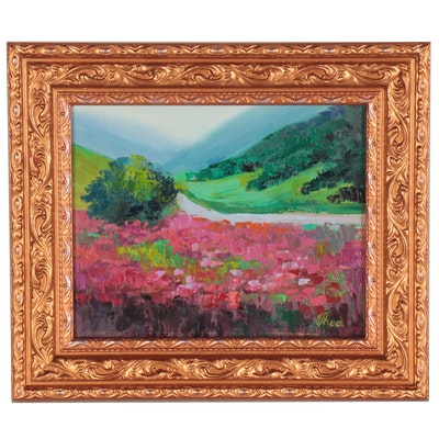 "Thea Mamukelashvili Oil Painting ""Summer Trail,"" 2021"