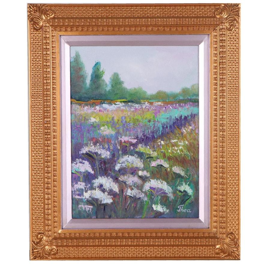 "Thea Mamukelashvili Oil Painting of Flowering Meadow ""Landscape,"" 2021"
