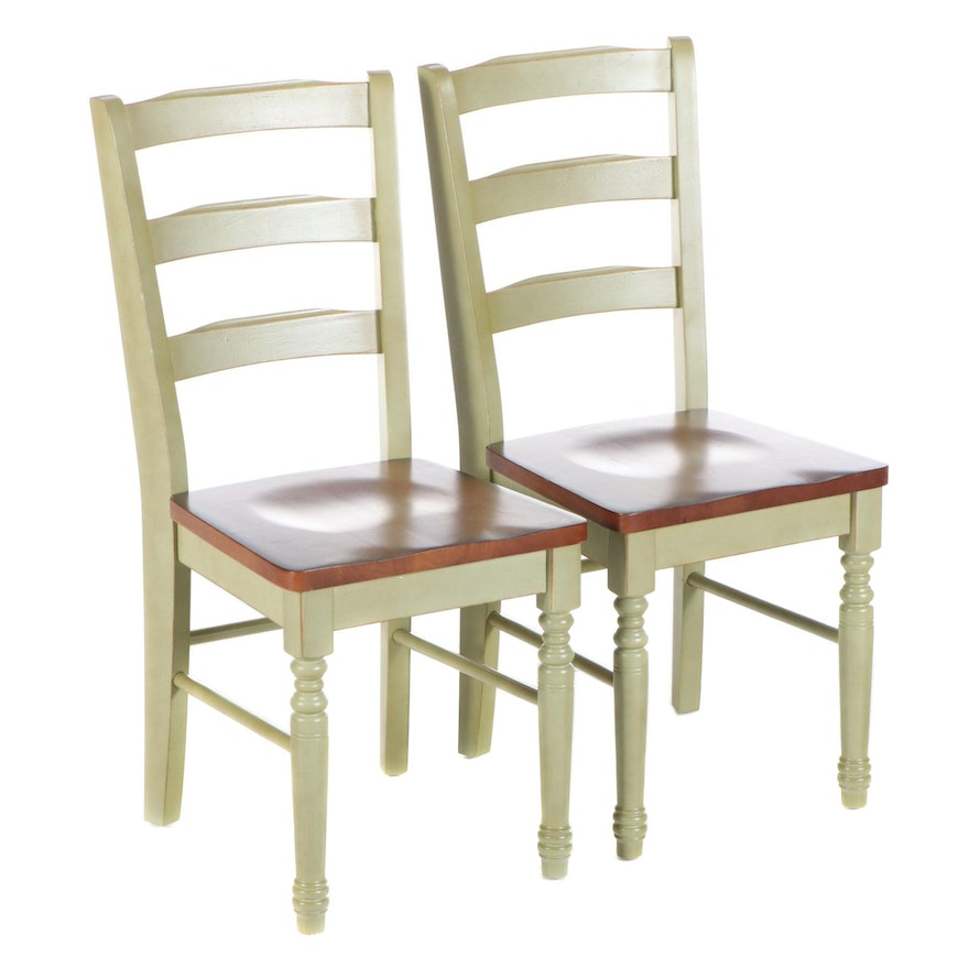 Pair of Farmhouse Style Parcel-Painted Hardwood Ladderback Side Chairs