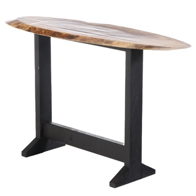 Modernist Style Ebonized Wood and Live Edge Console Table