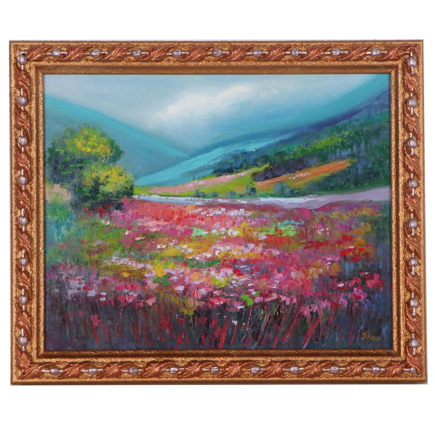 "Thea Mamukelashvili Oil Painting of Flowering Field ""Landscape,"" 2021"