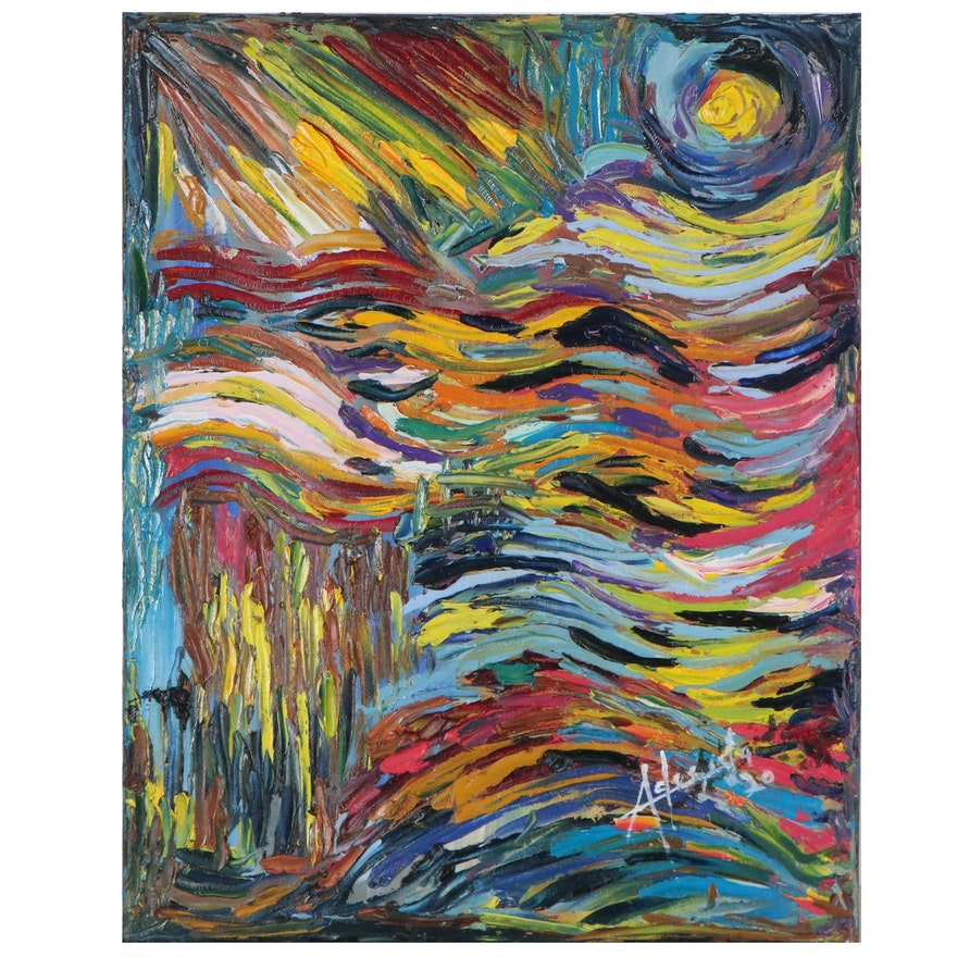 "Adedotun Adesida Abstract Impasto Oil Painting ""Color-Wave"""