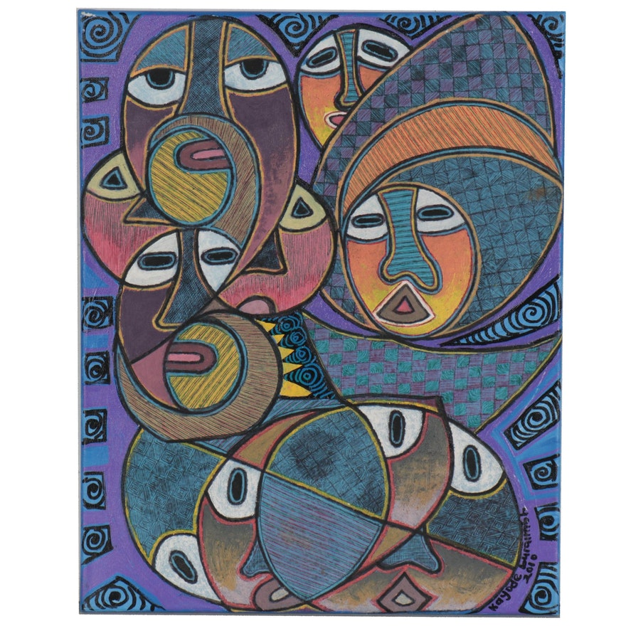 """Kayode Buraimoh Abstract Figural Mixed Media Painting """"Family Connection"""""""