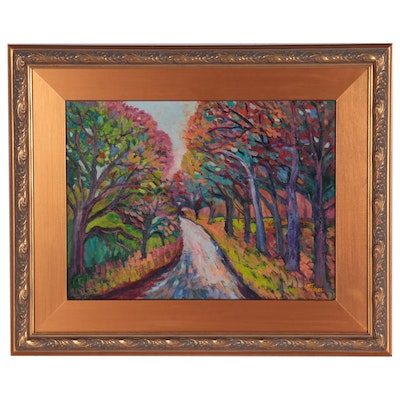 "Thea Mamukelashvili Landscape Oil Painting ""Fall Trail,"" 2021"
