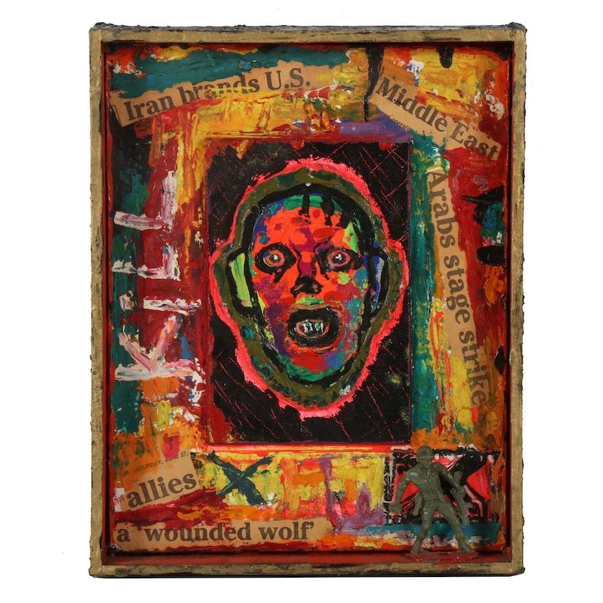"Anna Arnold Outsider Art Mixed Media Painting ""Warrior Boy,"" 1986"