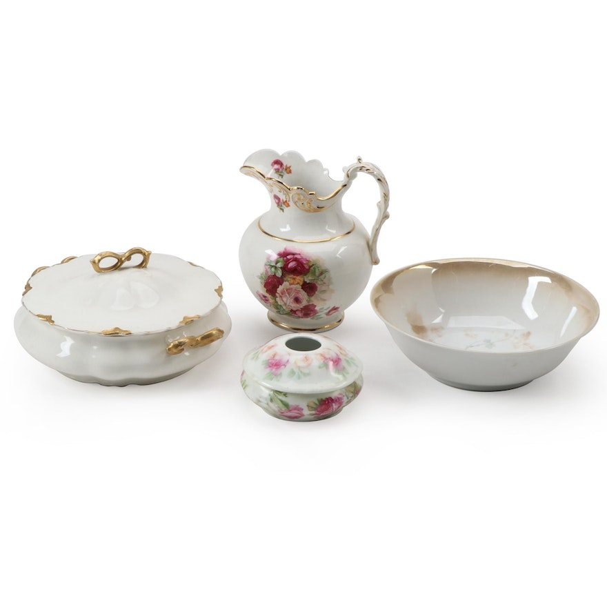 Gilt and Floral Decorated Stoneware and Porcelain Tableware and Vanity Box