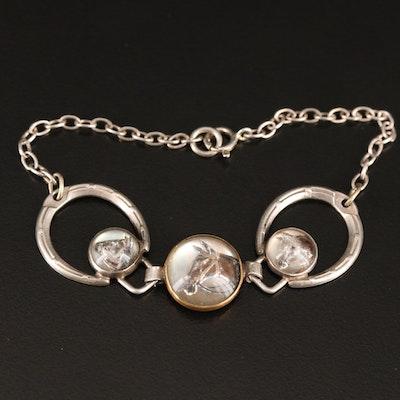 Art Deco Reverse Carved Equestrian Bracelet in Sterling Silver
