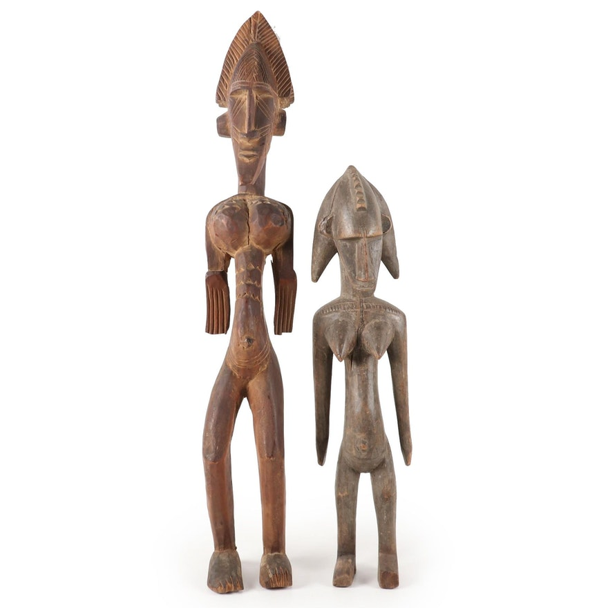 Bamana Style Carved Wood Female Figures, West Africa