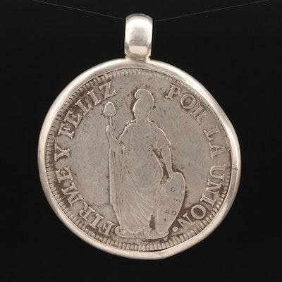 832 Peruvian Silver Reales Coin Pendant