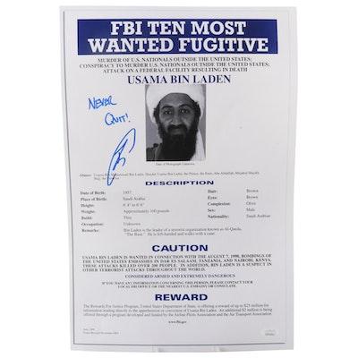"""Robert O'Neill Signed Usama Bin Laden """"Never Quit"""" FBI Poster Print with JSA COA"""