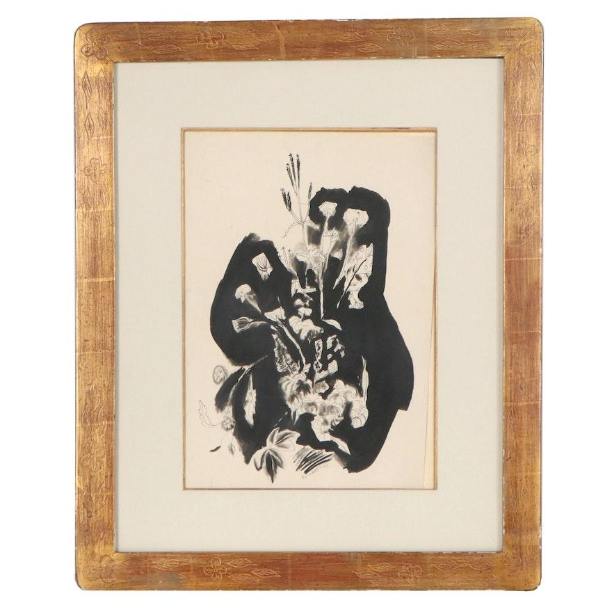 Yasuo Kuniyoshi Floral Still Life Ink Painting, 20th Century