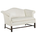 Chippendale Style Faux Leather Upholstered Loveseat Sofa