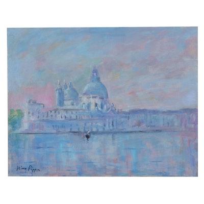"Nino Pippa Oil Painting ""Venice-La Salute,"" 2010"