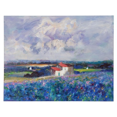 "Nino Pippa Oil Painting ""Provence- Irises Field,"" 2015"