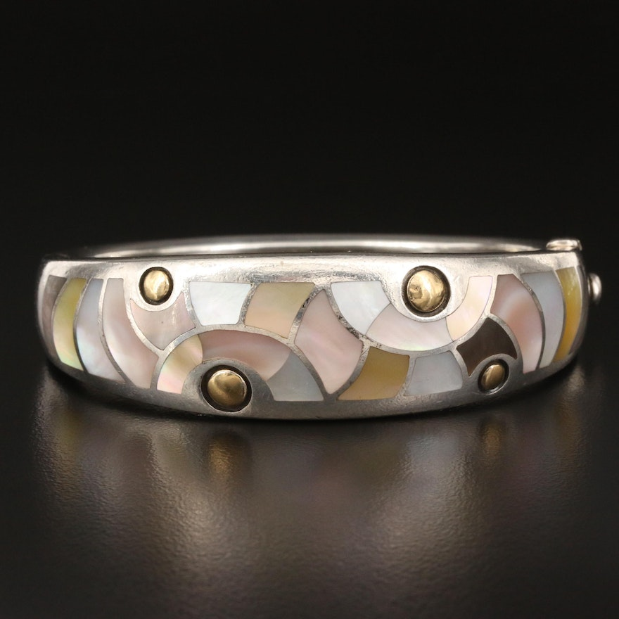 Asch Grossbardt Sterling Mother of Pearl Bangle with 18K Accents
