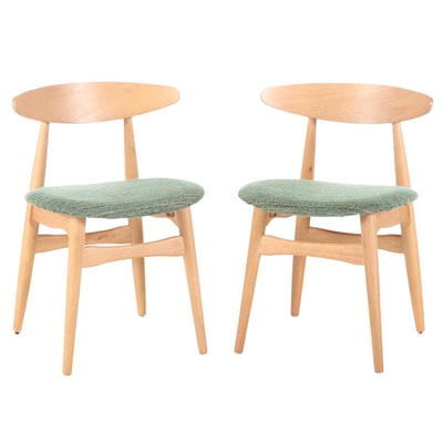 Pair of Danish Modern Style Blonde Wood Upholstered Side Chairs