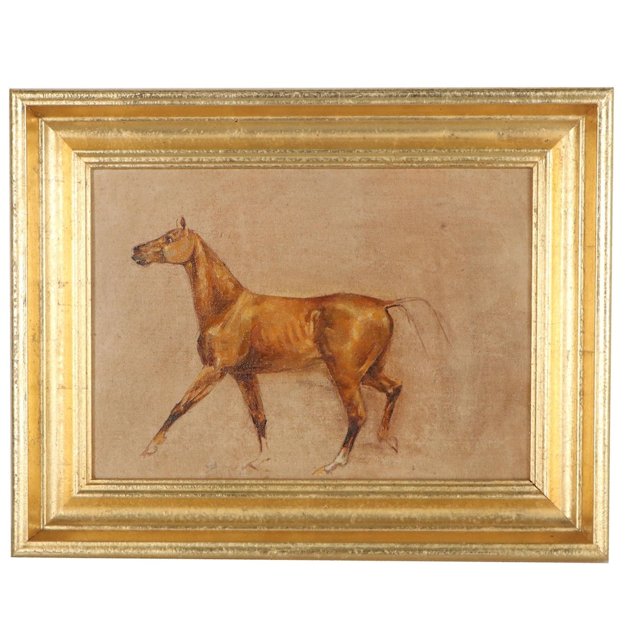 Study Oil Painting of Horse, Mid-20th Century