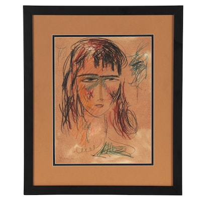 Marcos Grigorian Abstract Colored Pencil Portait, 1954