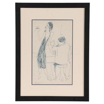 "Marcos Grigorian Abstract Ink Sketch ""Happy Hour"""