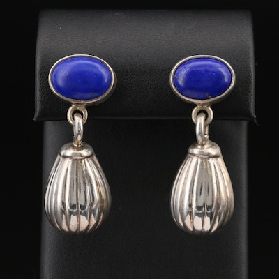 Mexican Sterling Lapis Lazuli Dangle Earrings