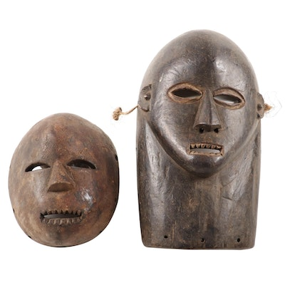 Central African Style Carved Wood Masks