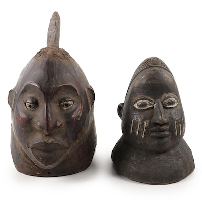 Yoruba Style Carved Wood Cap Masks, West Africa