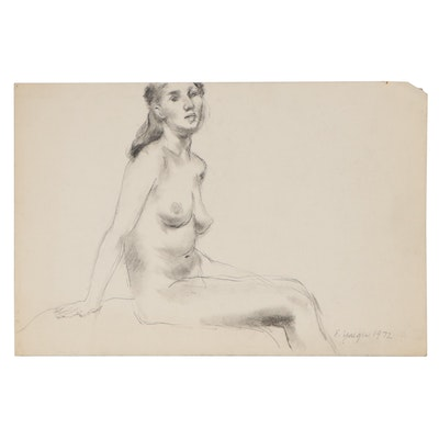 Edgar Yaeger Figural Charcoal Drawing, 1972