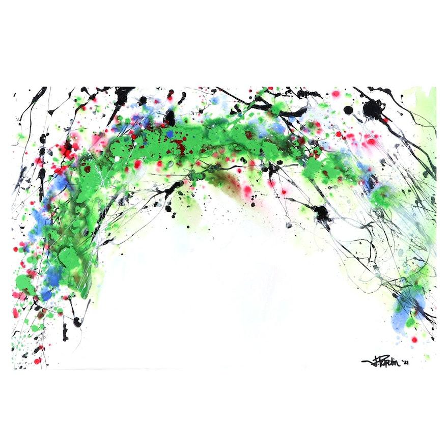 """J. Popolin Abstract Acrylic Painting """"RBG Rainbow"""""""
