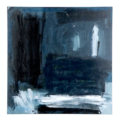 "Robbie Kemper Acrylic Painting ""Blue Black Blues"""