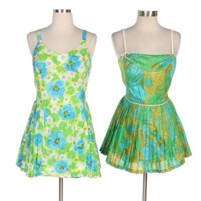 Gabar New York and Tina Leser Original by Gabar Green Print Pleated Swim Dresses